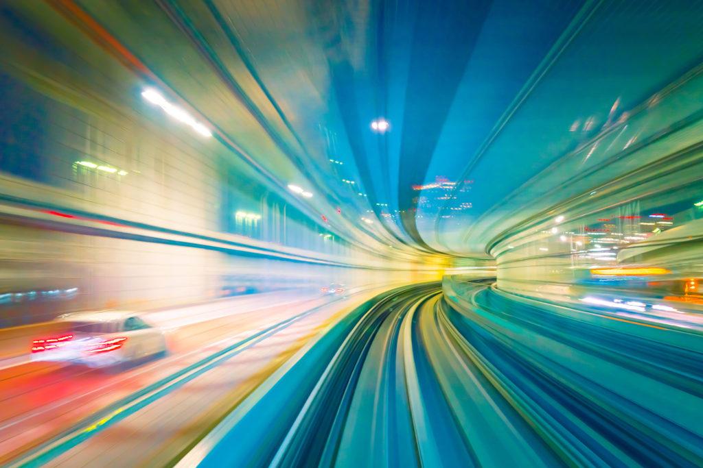 High speed train in transit
