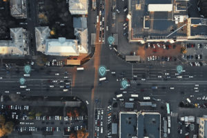 Car locations being tracked at an intersection