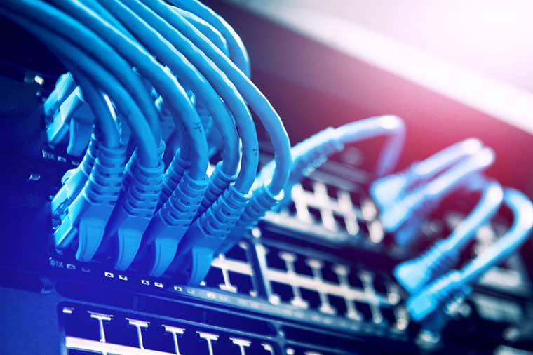Networking cables in patch panel