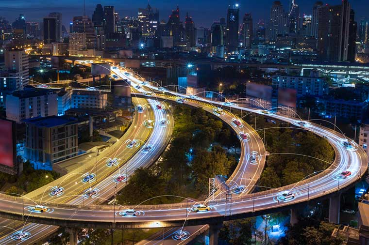 Traffic Technology used by cars through city highways.