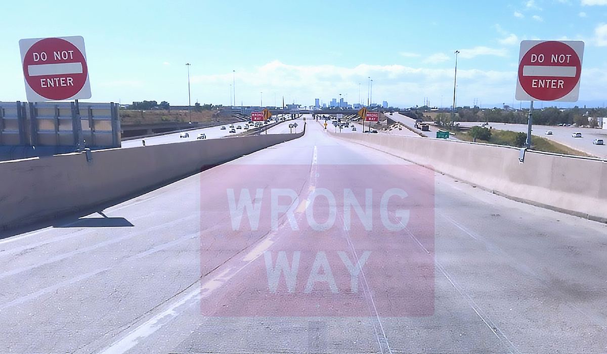 Example of Wrong Way detection technology on a freeway off-ramp.