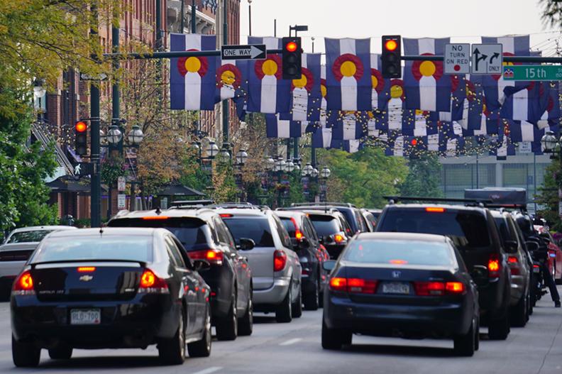 Traffic in Larimer Square, Denver, Colorado.
