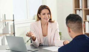 Female manager meets with one of her team members