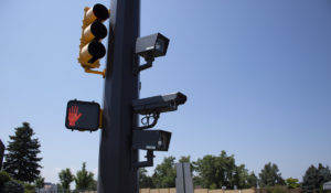 Red light camera at an intersection