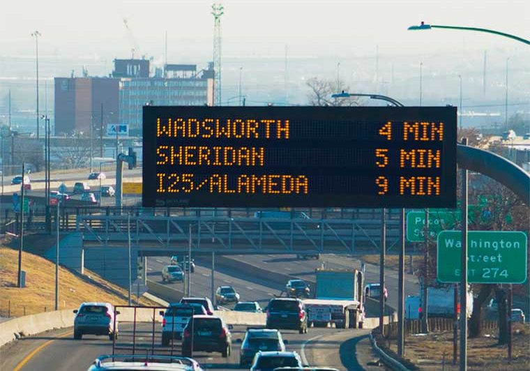 Dynamic message sign showing travel times