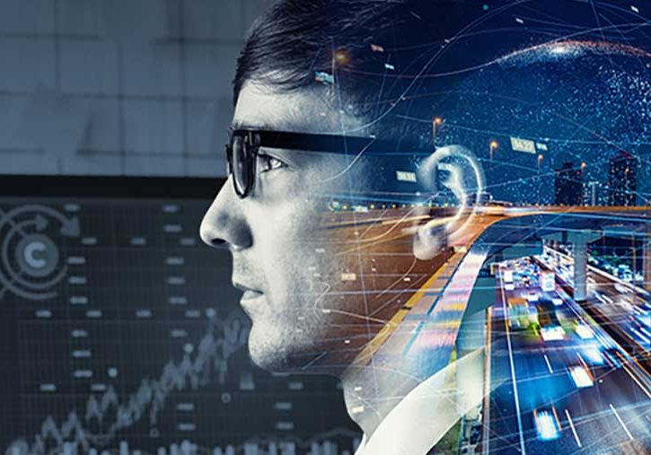 Data analyst looking at data with traffic entering his mind